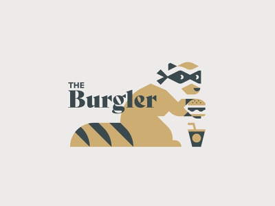 The Burgler flat graphic design burger logo burger character logo vector minimal illustrator illustration