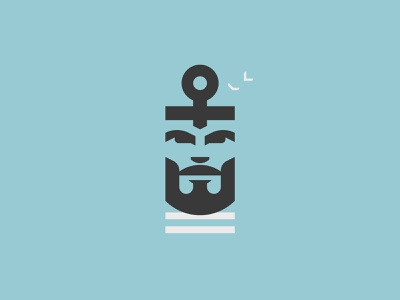 The Old Mand & the Sea flat anchor sea old man illustrator graphic character minimal vector logo design illustration
