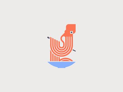 Kraken Noodle japan food noodle octopus kraken character logo vector minimal graphic design illustration