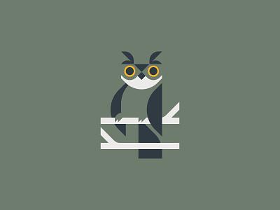 Night owl illustrator bird owl design flat vector graphic minimal illustration logo