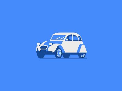Citroën 2 cv car 2cv citroen logotype flat vector minimal graphic illustrator design illustration logo