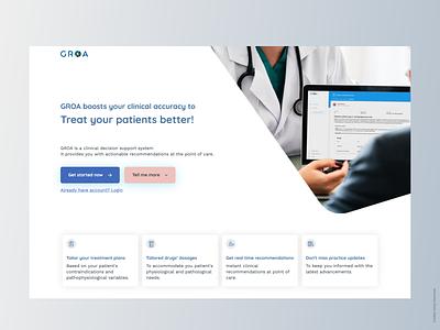 GROA ui minimal clinical website