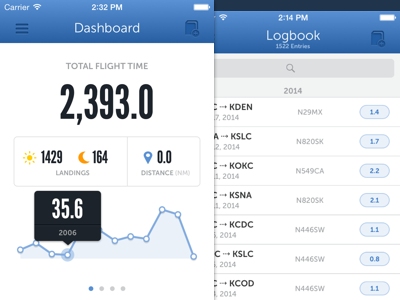 Pilot Pro iOS - Dashboard & Logbook