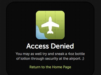 Flight Plan App 403 Page error