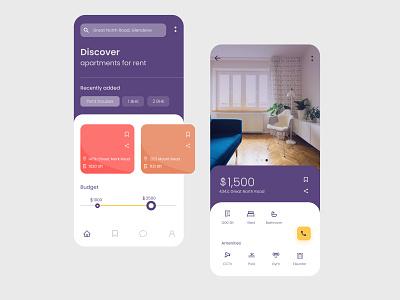 Flat renting app ux ui renting flat vector design typography concept app logo figma application ui illustration