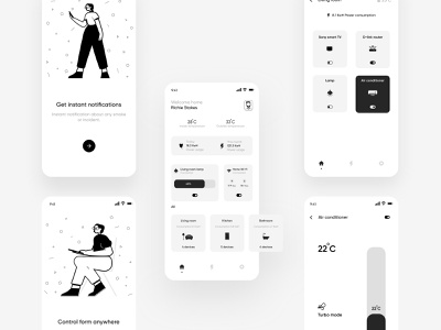 Smart Home App UI mobile app design mobile app mobile ui monochromatic monochrome smart home smarthome smart tv design concept ux app ui application design adobe illustrator illustration figma application ui