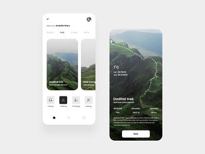 Exploration App fishing hiking mountain exploration trekking interaction application design concept application design figma ux ui application ui