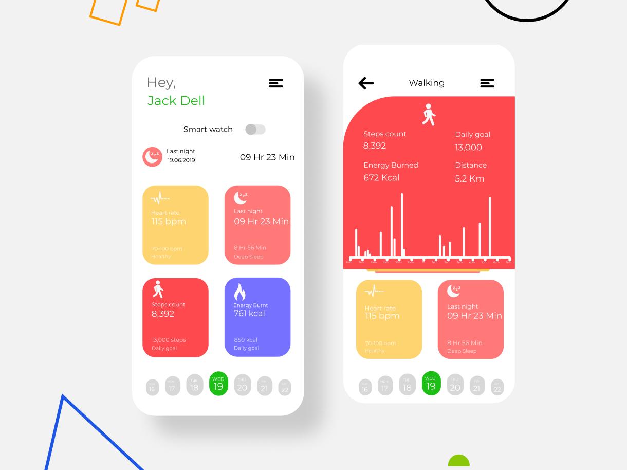Fitness Tracker application design application ui application app interactiondesiign interaction ux ui