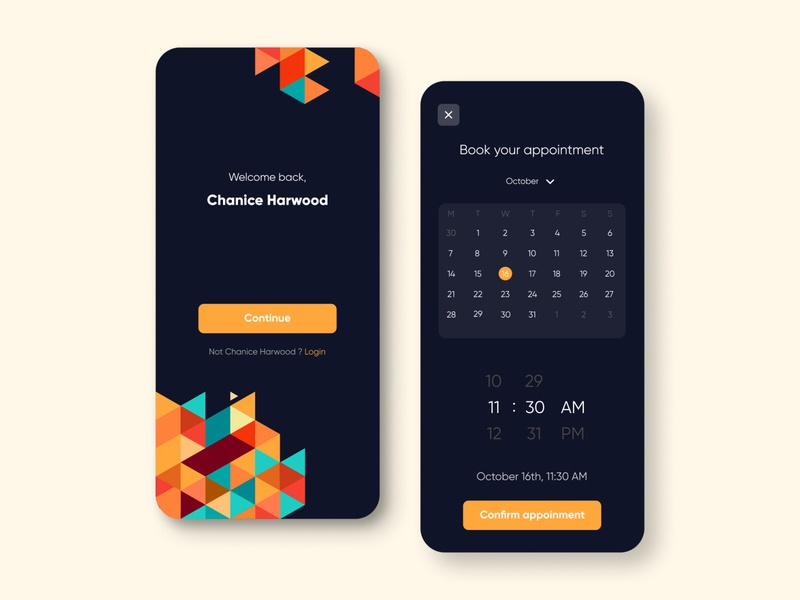 Appointment booking dark mode dark ui darktheme ux ui booking app appointment booking appointments appointment app application design figma application ui illustration