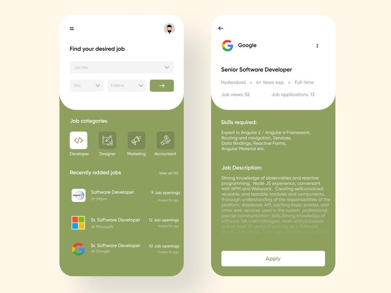 Job Finder ux ui jobs job search job finder application design application design figma app adobe illustrator application ui illustration