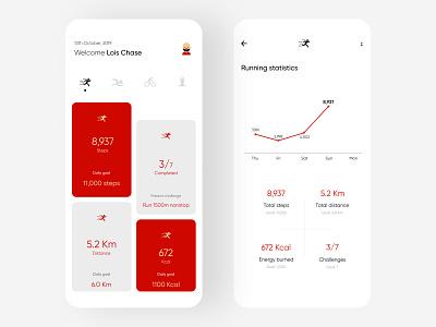 Fitness Tracker ux ui interaction design interaction fitness tracker fitness app fitness application design figma application ui