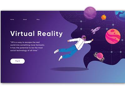 VR concept ux ui virtual realtiy landing page design landingpage website concept website design website web application design adobe illustrator illustration application ui
