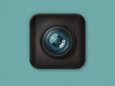 Camera Icon camera icon logo glass lens leather 3d ios android illustration design
