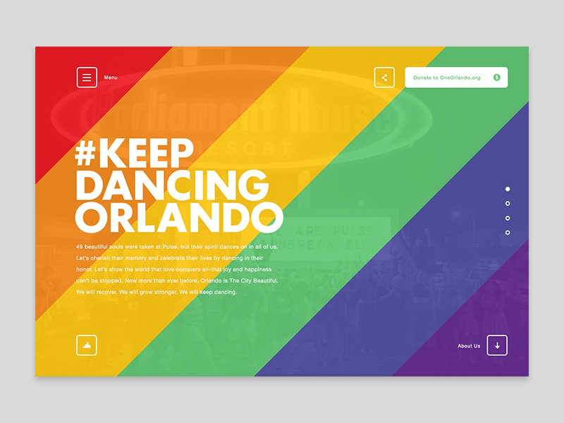 Keep Dancing Orlando pulse united pride page landing web orlando dancing design