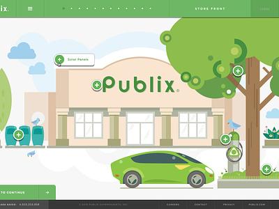 Publix Sustainability Microsite navigation menu animation transition story illustration design grid website sustainability ux ui