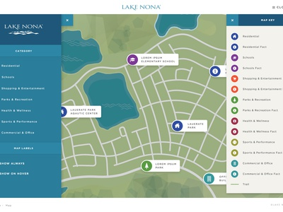 Lake Nona Map Interface filters website vector icons ui interface map