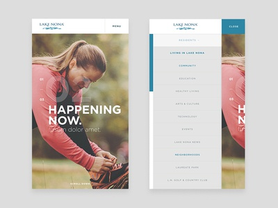 Lake Nona Concept Mobile View site design web contact form navigation side nav hero expand slide transition home page