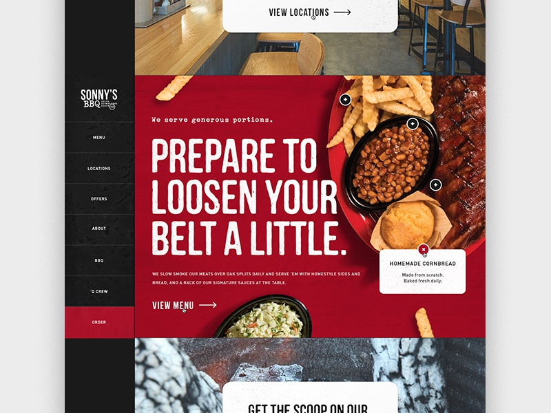 BBQ Homepage Concept scroll design web side nav animation homepage bbq