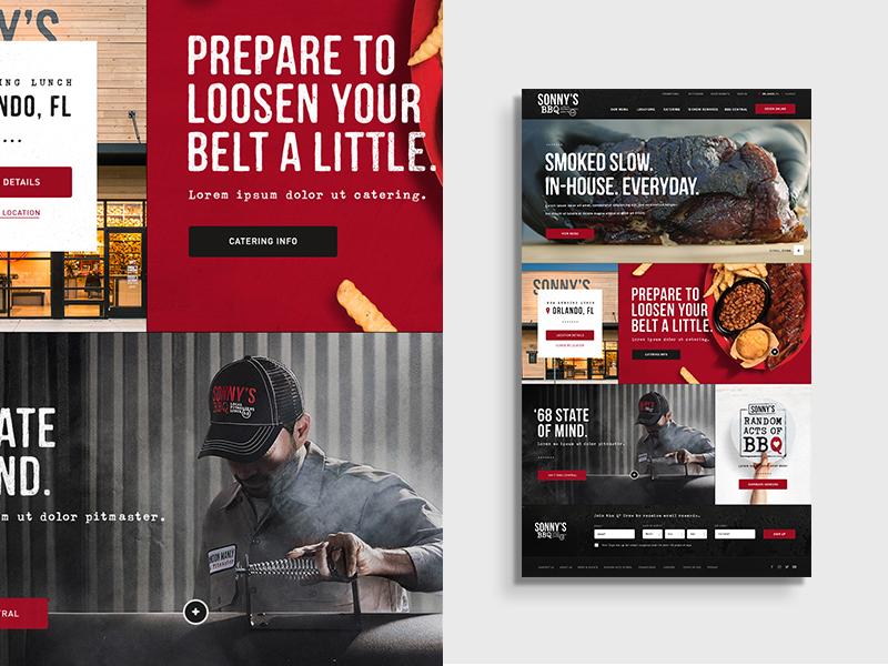 Sonnys BBQ Homepage restaurant food meat bbq grid design layout web