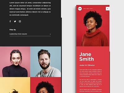 Push Website Employees Concept portraits agency team web color transition design grid