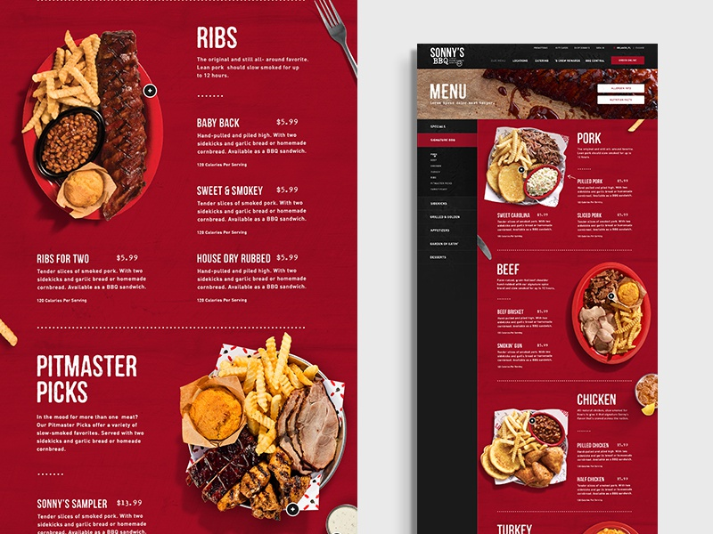 Sonnys bbq menu