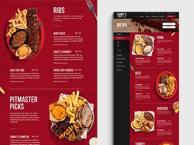 Sonnys BBQ Menu Page restaurant food meat bbq grid design layout web