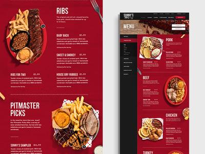 Sonnys BBQ Menu Page restaurant food meat bbq grid design layout web
