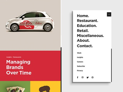 Push Homepage and Menu Concept grid design color web agency mobile menu