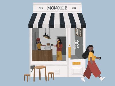 Monocle Cafe london building illustration cafe monocle