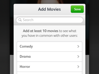 Pop Over pop over movies categories save button white grey green light add adding