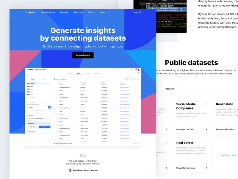 KgBase Landing Page site of the day design illustration flat light ux ui interface knowledge graph landing page creative clean