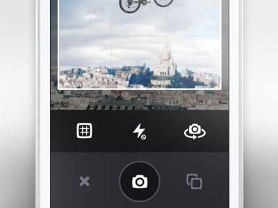 Flat Camera camera flat grey white dark solid picture image grid rotate flash gallery cross close buttons no shadows