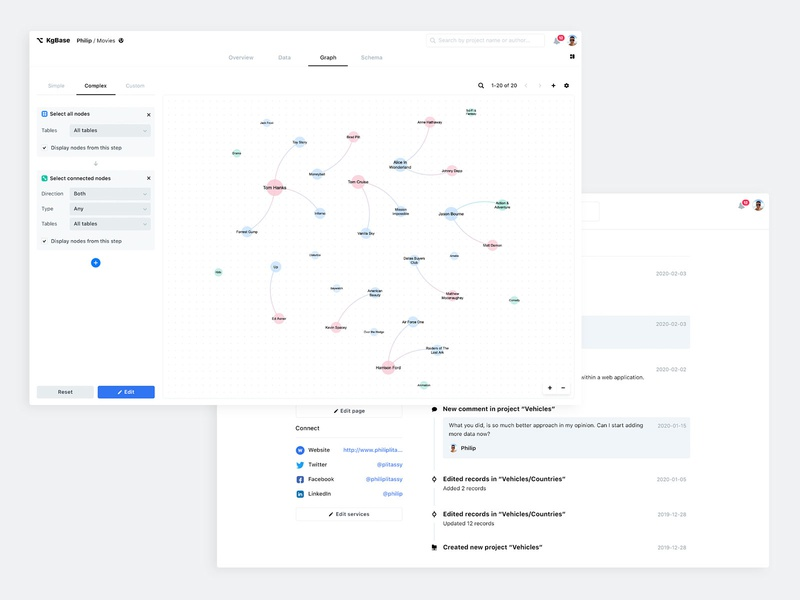 Knowledge Graph social media timeline button tabs nodes configuration query search bar light profile app flat design producthunt product uidesign ux ui web knowledgegraph knowledgebase