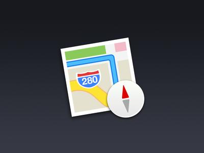 OS X Maps maps icon app mavericks compas native psd free freebie map mac os x