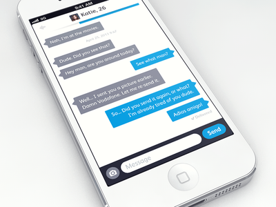 Chat Screen chat messenger flat flatness bubbles blue grey white ios7 iphone