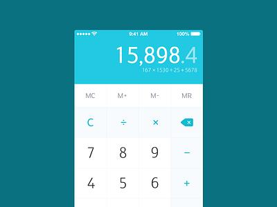 Calculator (In White) calculator flat light white colours blue aquamarine numbers ios7 iphone practice app