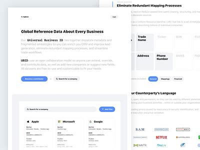 Universa Business ID Landing Page grid filter search ui website landing page flat logo design buttons light white blue