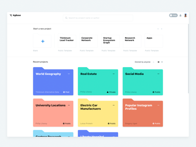 Dashboard Next-Gen filter horizontal scroll templates search folders dashboard color palette profile grid web ui light flat buttons