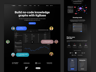 KgBase Alternative Landing Page table charts graph round buttons creative clean site of the day landing page knowledge graph ux ui dark flat design