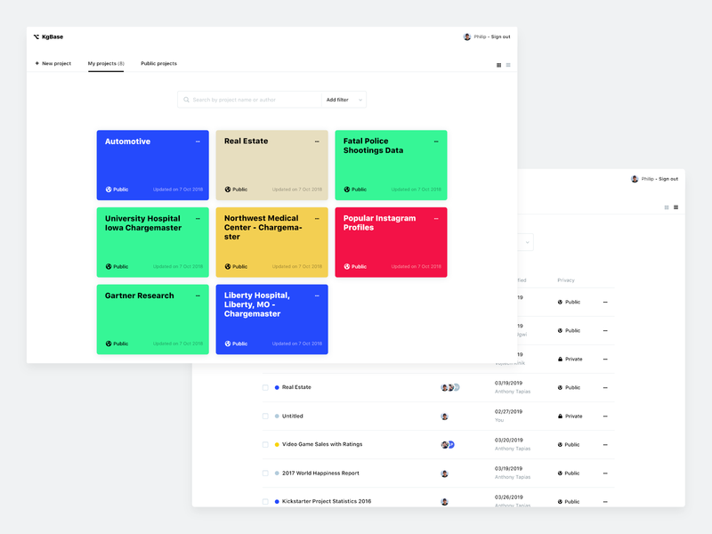 Dashboard Views buttons flat light ui web list profile features tabs search bar color palette dashboard