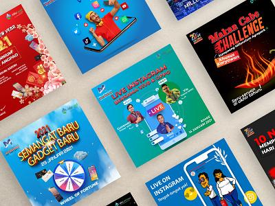 Social Media Content Part 1 vector branding event infographic social media logo font design illustraion flat design poster design post instagram content