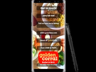 Golden Corral app mock up