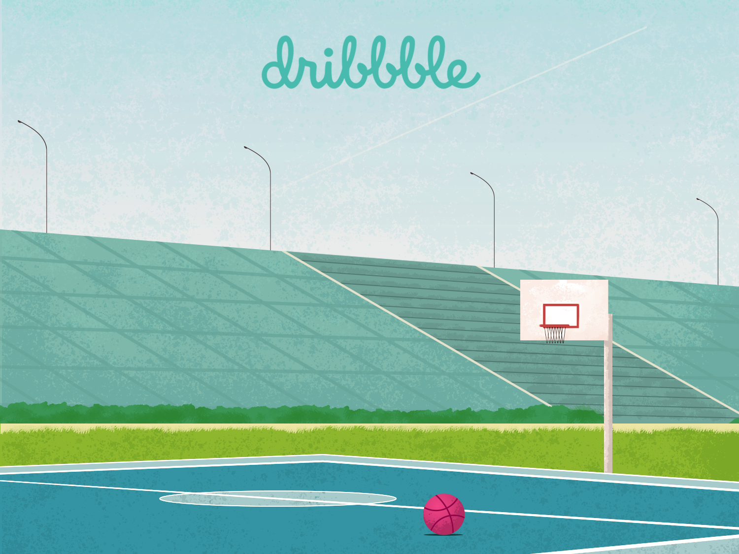 Dribbble Court illustration first shot court basketball ball