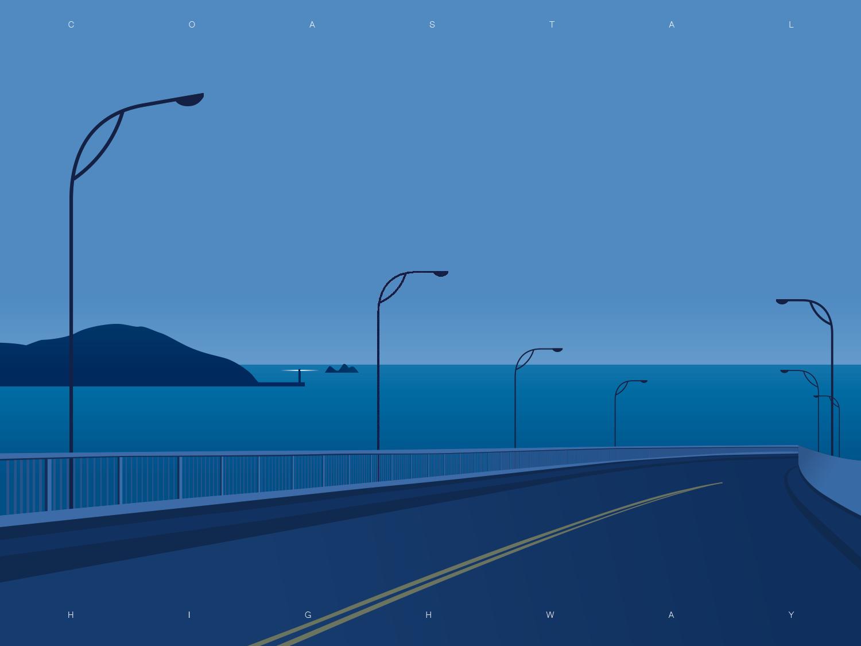 Coastal Highway highway coastal taiwan sea illustration