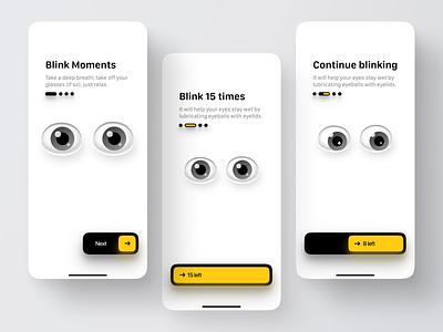 Blink Onboarding eye tracking eyeyoga exercises eyes product design mobile ux animation ui branding fun app illustration ios design