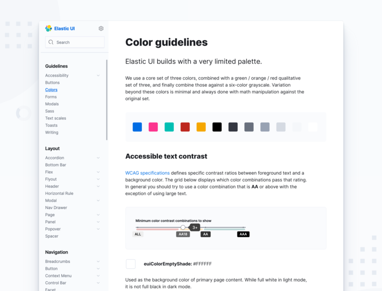 Elastic UI Design System Color Guidelines ui design branding design system contrast accessibility styleguide guidelines colors components system