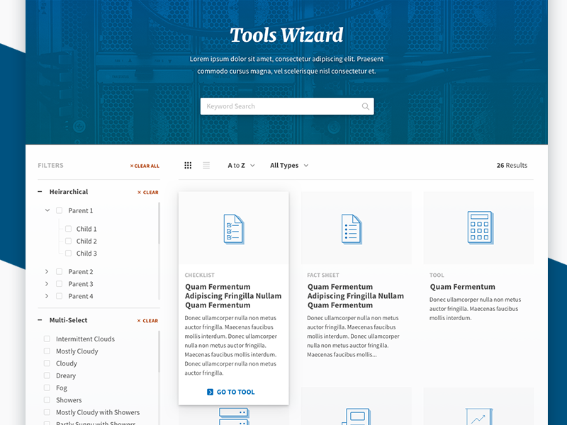 Mockup - Search/Wizard Style Application grid list results filters fidelity high hi-fi wizard wireframe sketch search mockup