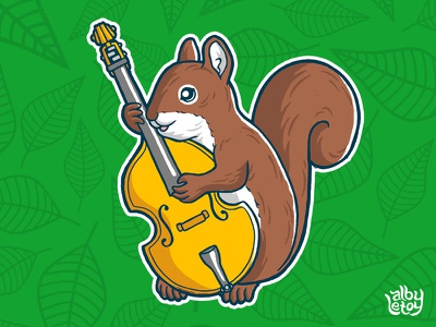Squirrel cute animal squirrel chipmunk music bass sticker cartoon