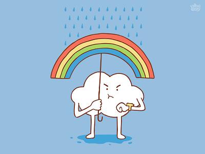 Waiting For The Sun illustration cloud sky rainbow rain cartoon