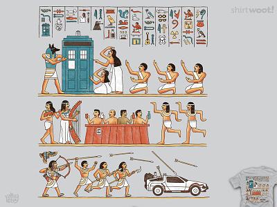 The Strange Objects doctorwho whovian tardis scifi movie ancient delorean hieroglyph t-shirt funny timemachine illustration